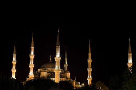 Sultanahmet  Blue mosque  at night  Istanbul, Turkey Stock Photo