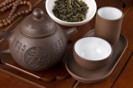 rituals: Set for traditional Chinese tea ceremony close up