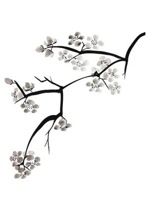 Painting of plum blossom in Chinese technique photo