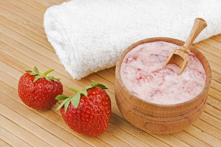 masks: Homemade facial mask of strawberry and cream Stock Photo