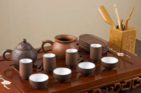 Tea set ready for traditional Chinese tea ceremony