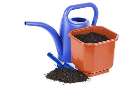plastic scoop: Gardening tools isolated on white Stock Photo