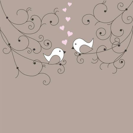Pareja de pájaros enamorados Ilustración de vector