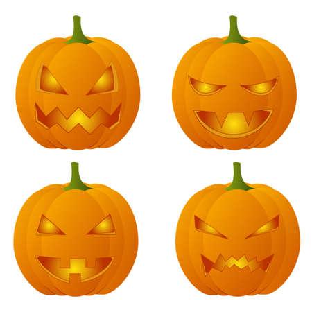 bared teeth: Set of four creepy Halloween pumpkins