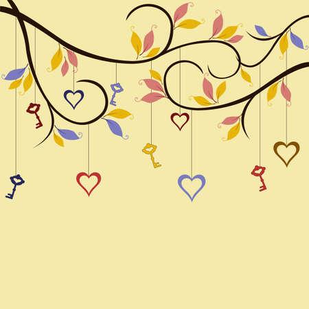 garden key: Hearts and keys hanging on trees in wonderland garden Illustration