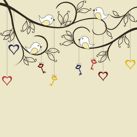 garden key: Birds with keys to hearts on trees