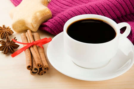 Cosy winter  Cup of coffee with scarf, spices and Christmas decoration Stock Photo - 22447292