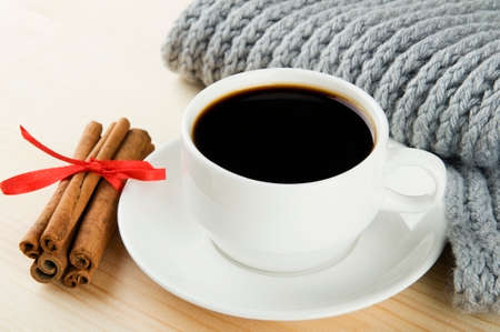 Cosy winter  Cup of coffee with scarf and cinnamon Stock Photo - 22447293