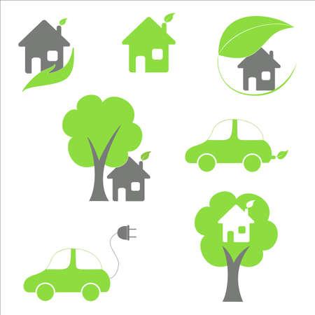 eco house: Eco house and car icons set