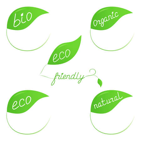 Green eco-friendly labels in form of leaves Vector