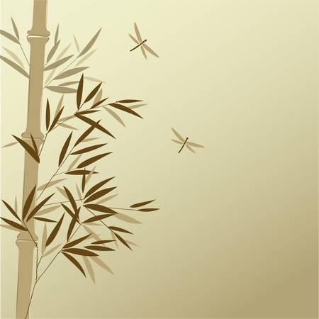 中国の絵画のスタイルでトンボと竹