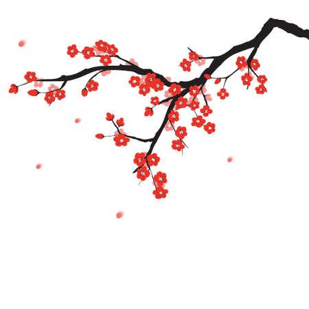 arbol de cerezo: Ciruelo en flor en la pintura de estilo chino