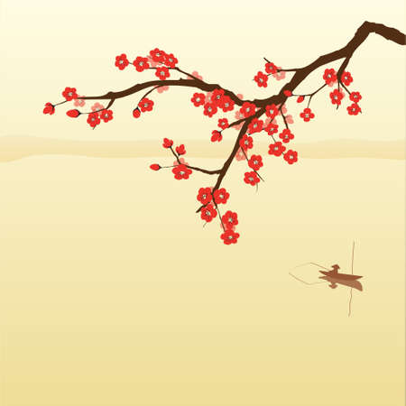 zen like: Plum blossom and fisherman in Chinese painting style