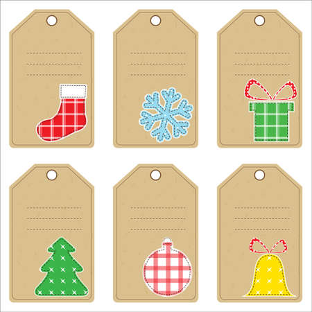 Set of Christmas gift tags with stitched decorations Vector