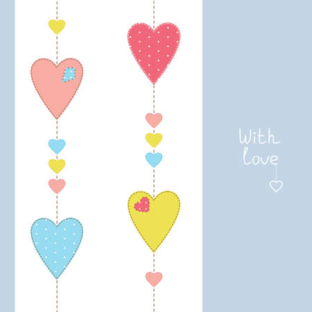 Greeting card with stitched hearts and love Vector