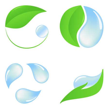 yin y yang: Conjunto de iconos de eco con hojas verdes y agua pura Vectores