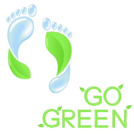eco slogan: Va el concepto verde con huellas humanas de hojas y agua pura
