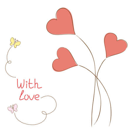 Greeting card with hearts-flowers in hand drawn style Vector