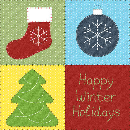 handmade element: Patchwork with Christmas motifs  Can be used as seamless pattern