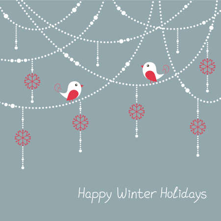 Winter holidays card with birds and Christmas decorations Vector