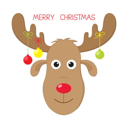 moose antlers: Cute and funny Christmas moose Illustration