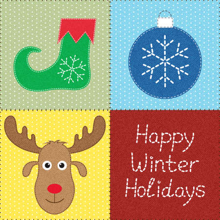 sewed: Patchwork with Christmas motifs  Can be used as seamless pattern  Texture can be easily removed