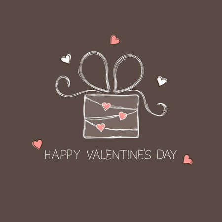 Gift box with hearts in doodle style Vector