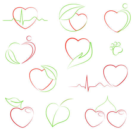 Set of hearts icons with health and eco motifs Vector