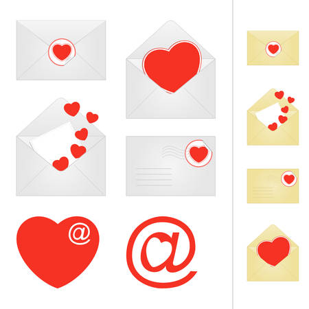 Love mail  Set of mail icons with hearts Vector