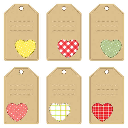 sewed: Set of gift tags with stitched hearts Illustration