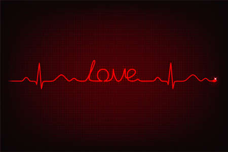 cardiogram: Cardiogram of love  Cardiogram line forming word  love  Illustration