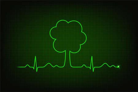 Eco heart beat  Cardiogram line forming tree shape