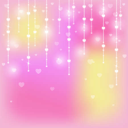 Shiny and glittering background with hearts Vector