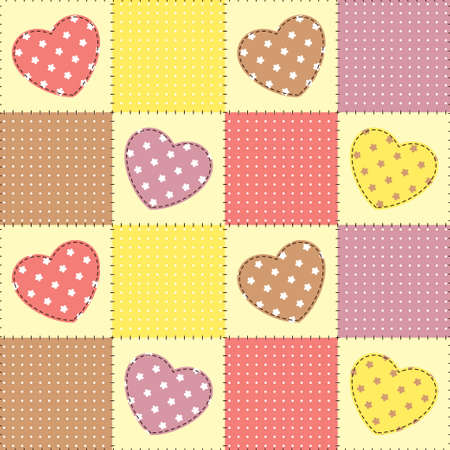 Seamless patchwork background with hearts Vector