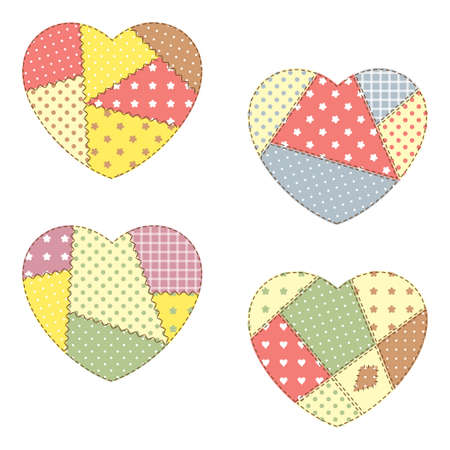 Set of cute patchwork hearts Vector