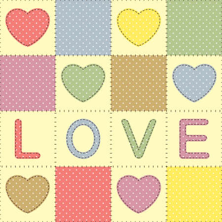 Background with hearts and love in patchwork style Vector
