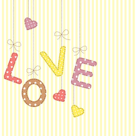 Love letters in patchwork style Vector