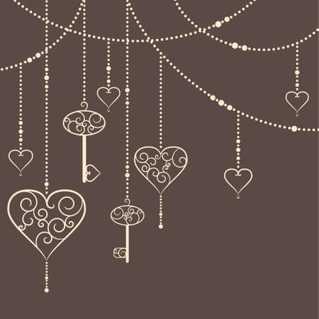 Illustration of vintage hearts and keys garland