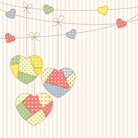 Hearts garland in patchwork style Vector