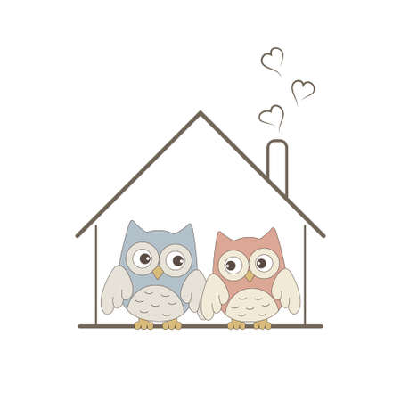 cosy: Cute owls couple in their cosy nest Illustration