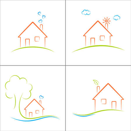Eco house icons set Illustration