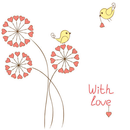 Romantic birds in love Vector