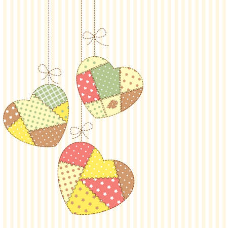 Cute hearts in patchwork style hanging Vector
