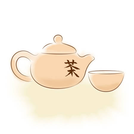 chinese tea: Traditional oriental teapot with Chinese hieroglyph  tea  and cup Illustration