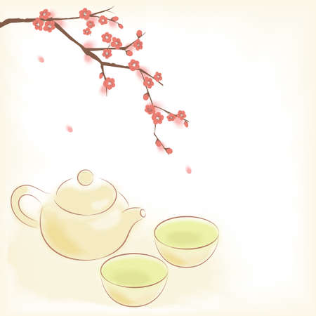 Traditional oriental teapot and cups with plum blossom Vector