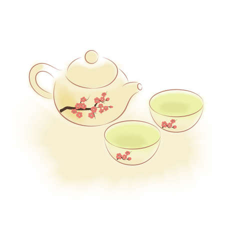 Traditional oriental teapot and cups with plum blossom ornament Vector