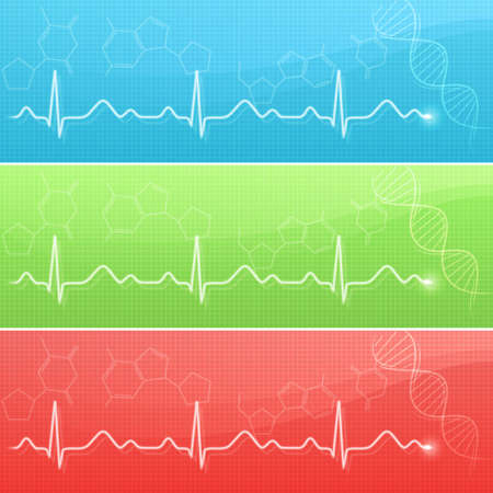 cardiogram: Medical background with cardiogram line in three colors