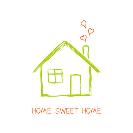 House full of love in doodle style Vector