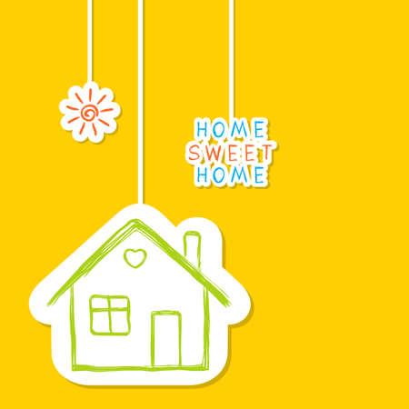 building house: Concetto di casa dolce in stile Doodle Vettoriali
