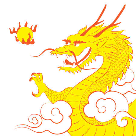 golden religious symbols: Traditional Chinese dragon with flaming pearl Illustration